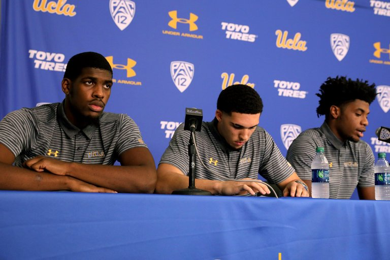 U.C.L.A basketball players from left, Cody Riley, LiAngelo Ball and Jalen Hill. Lucy Nicholson/ Reuters